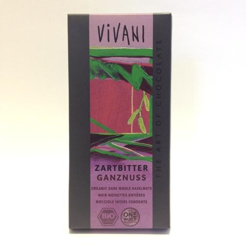 chocolate preto biológico com avelãs Vivani