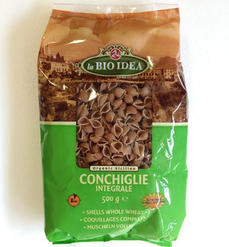 massa conchas de trigo integral, la bio idea