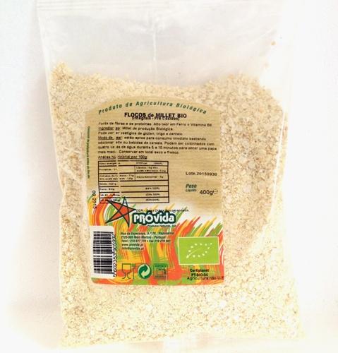 flocos de millet integral, biológicos, provida
