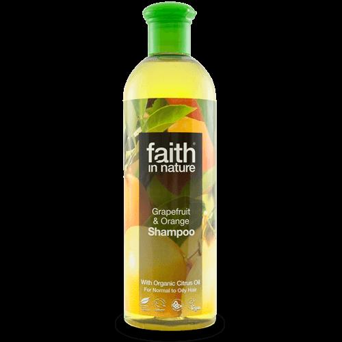 champô biológico, laranja e toranja, faith in nature