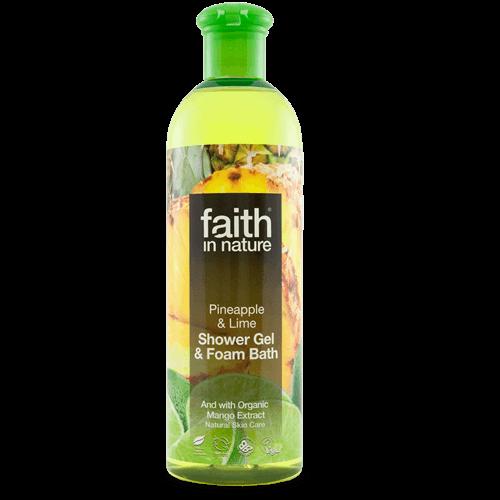 gel de banho bio, ananás e lima, faith in nature