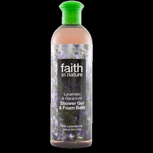 gel de banho bio, lavanda e gerânio, faith in nature