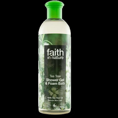 gel de banho bio, tea tree, faith in nature