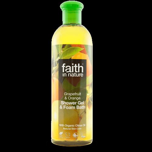 gel de banho bio, toranja e laranja, faith in nature