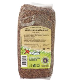 lentilhas castanhas biológicas, próvida