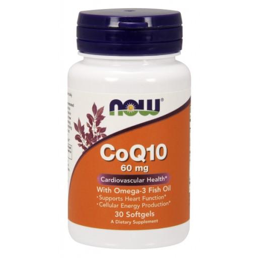 coenzima Q10, CoQ10 com ómega 3, now