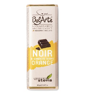 chocolate preto e laranja, com stevia, belarte