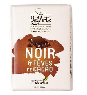 chocolate preto e pepitas de cacau, com stevia