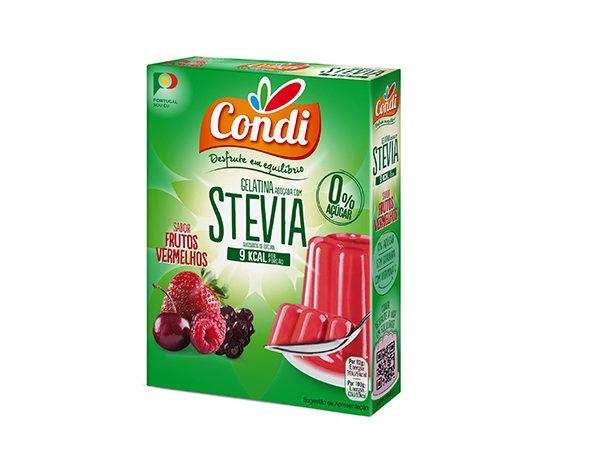 Gelatina, com STEVIA, sabor a Frutos Vermelhos