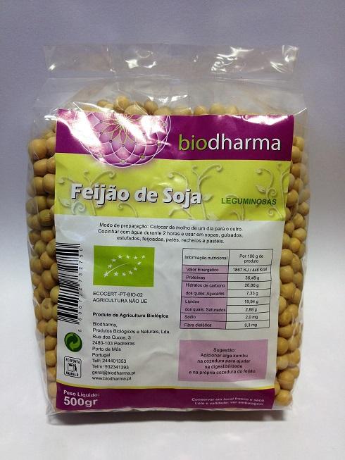 feijão de soja biológico, 500g, biodharma