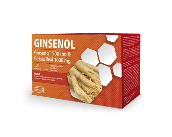 Ginsenol, ampolas com ginseng e geleia real