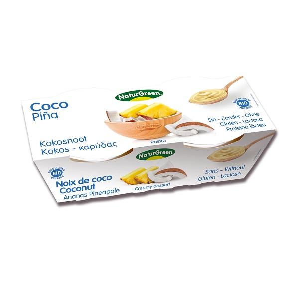Sobremesa de côco e abacaxi, biológica, vegan