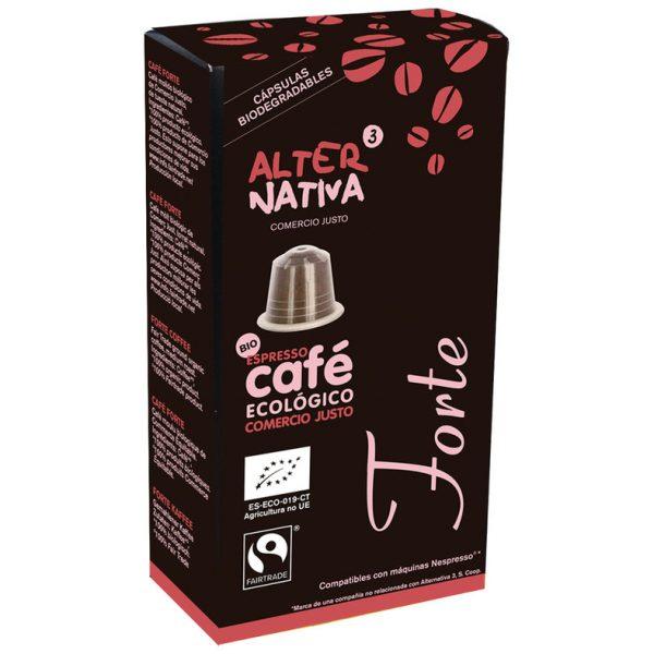 Café biológico em cápsulas, máq. Nespresso, Forte