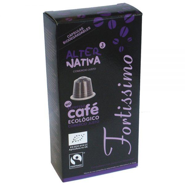 Café biológico em cápsulas, máq. Nespresso, Fortissimo