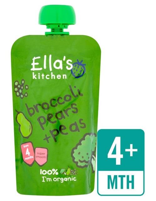 Puré brócolos, peras e ervilhas, Bio, sem glúten