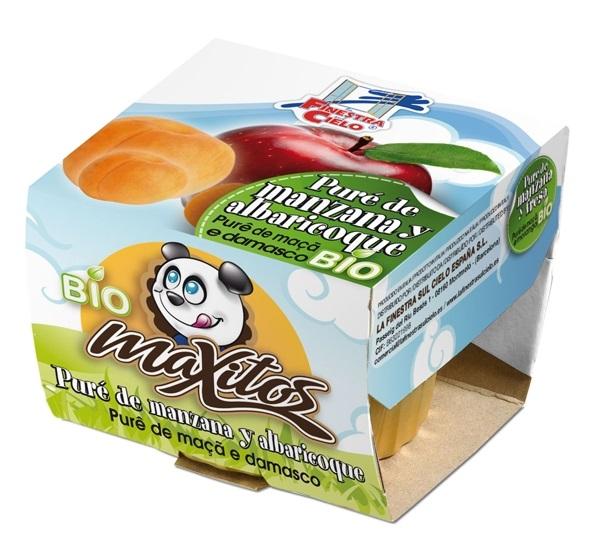 Puré de maçã e damasco bio, Maxitos