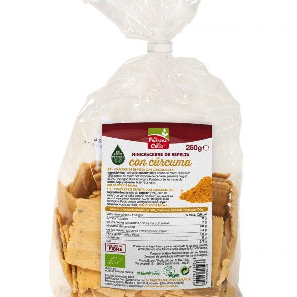 Mini Crackers de espelta com cúrcuma, biol.