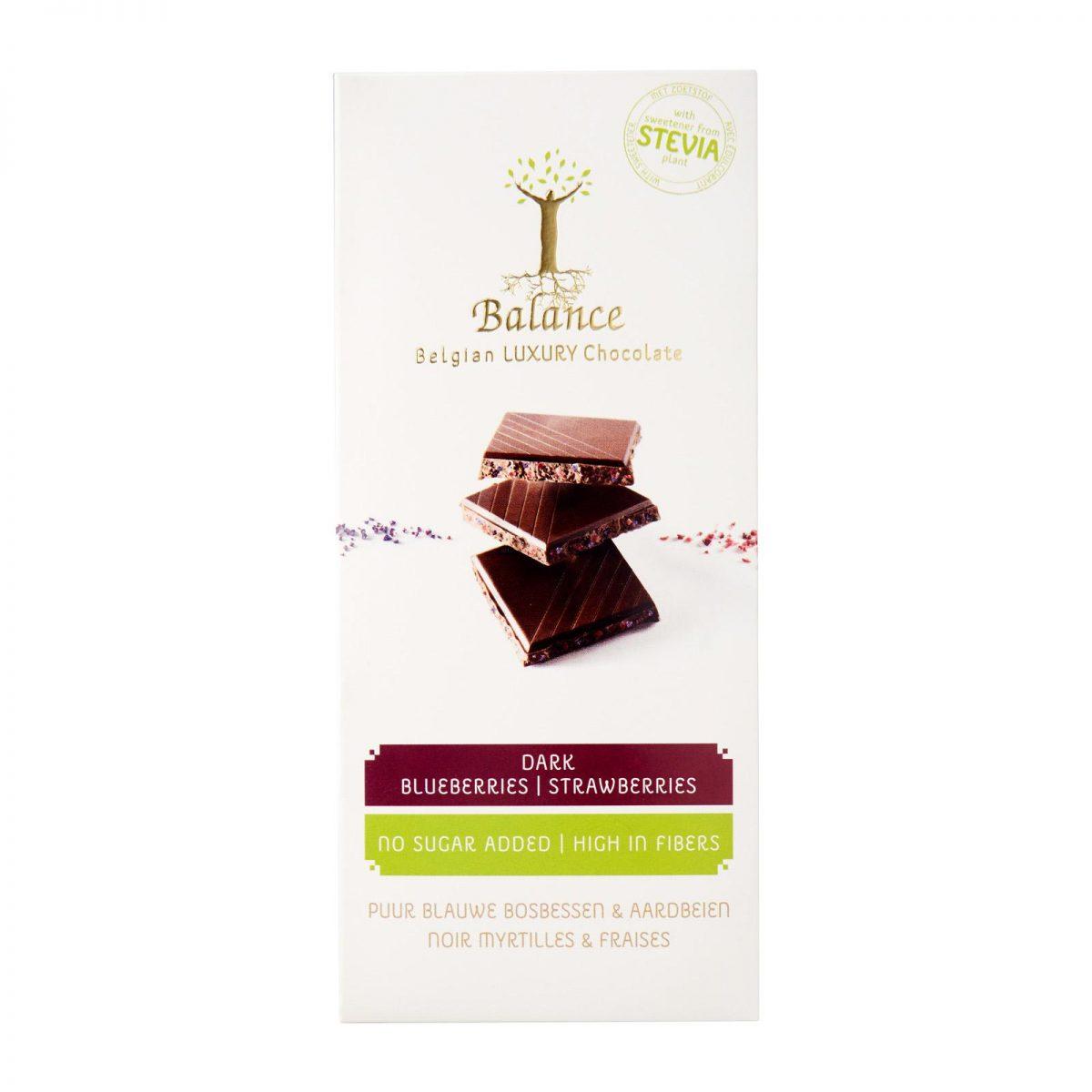 Chocolate com mirtilos e morangos, c/stevia