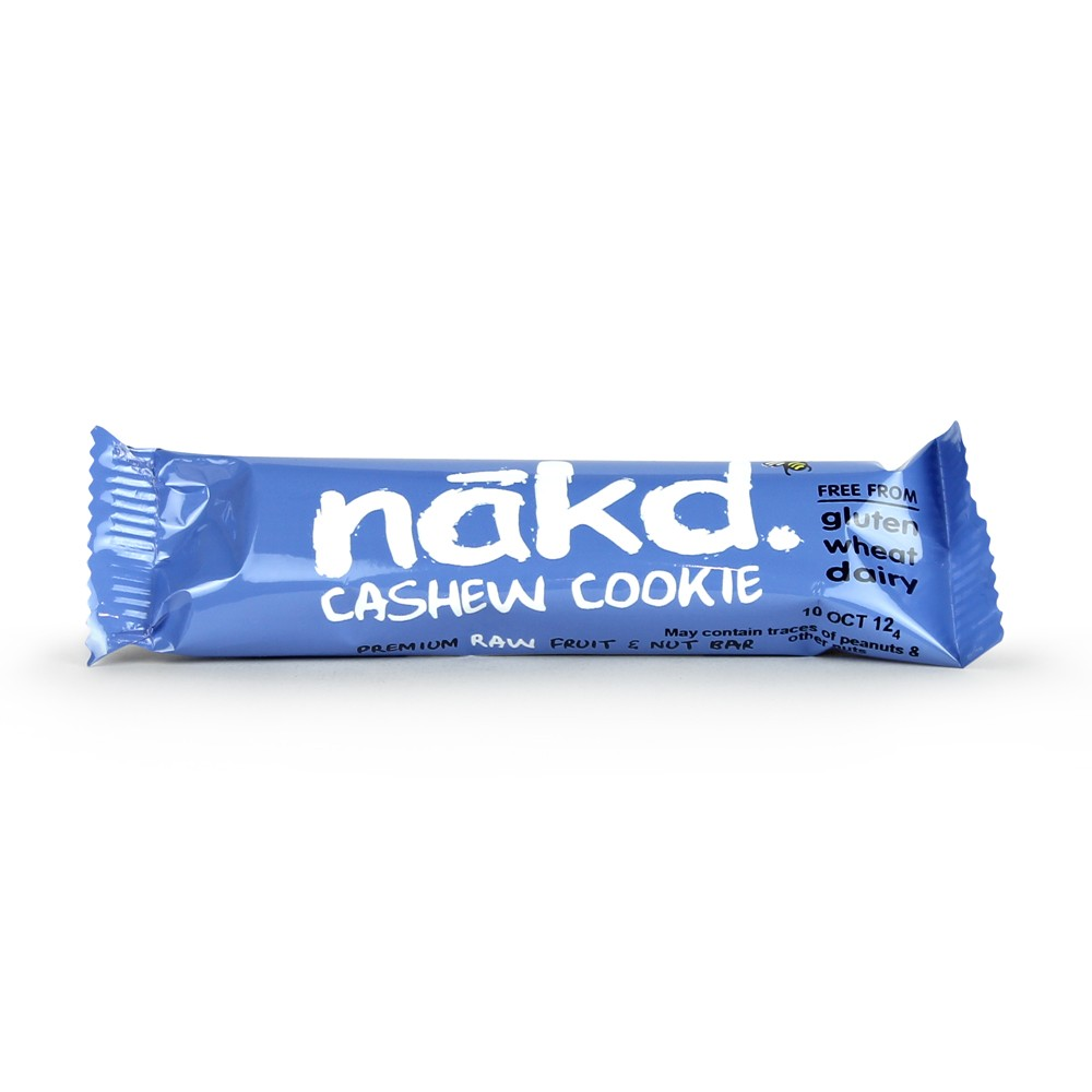 Barra Nakd raw, cookie de caju, sem gluten