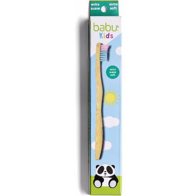 Escova dentes em bambu - criança, rosa-azul