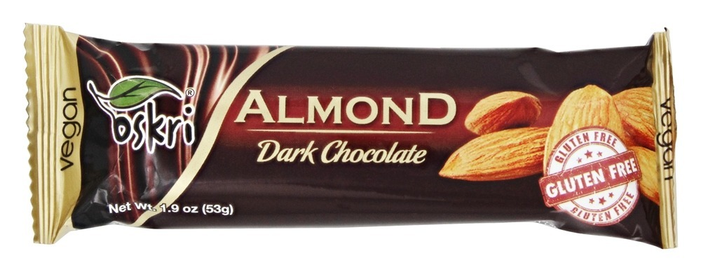 barra amêndoa-chocolate preto sem glúten, OSKRI