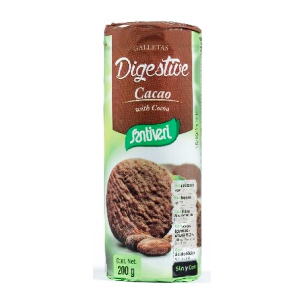 Bolachas Digestivas de Cacau, sem açúcar, Santiveri