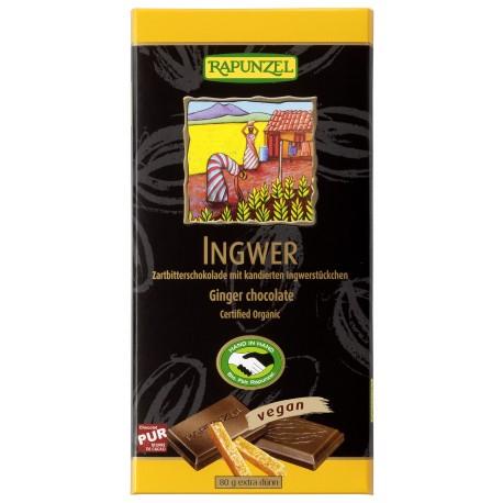 Chocolate semi-amargo c/ gengibre, 80g, Rapunzel