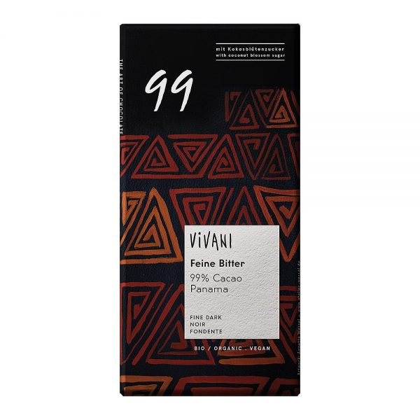 Chocolate preto bio, 99% cacau, vegan