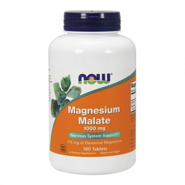 Magnésio Malato 1000 mg, 180 comprimidos, Now