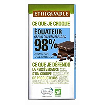 Chocolate Equador, 98% cacau, Ethiquable