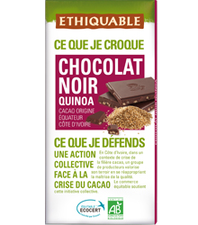 Chocolate preto com quinoa, 100g, Ethiquable