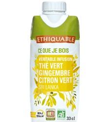 chá verde, gengibre e limão, biológico, 330ml