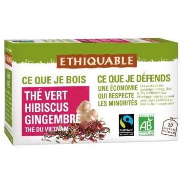 chá verde com hibisco e gengibre, 20 saquetas