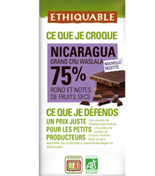 Chocolate Nicaragua 75% cacau, Ethiquable