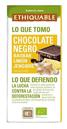 Chocolate preto c/ baobab, limão, gengibre Ethiquable