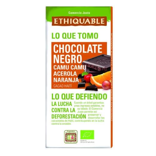 Chocolate preto c/ camu, acerola, laranja Ethiquable