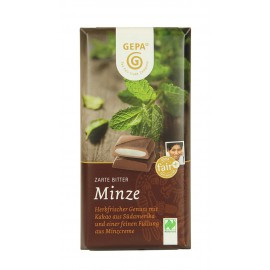 Chocolate preto biológico, menta, 100g, fairtrade