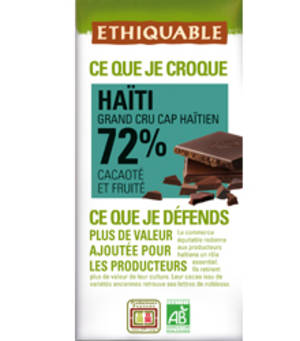 Chocolate Haití, 72% cacau, Ethiquable