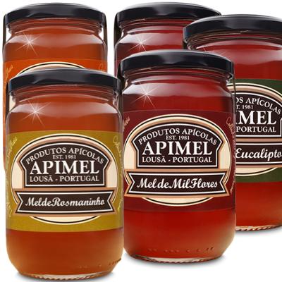 Mel Apimel com quatro variedades de mel cru